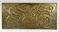 Rare Antique Russian dancers Avant Garde Art Deco relief handcarved copper wood