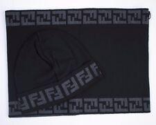 Fendi Wool Black Scarf & Cap Combo