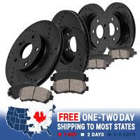 Front+Rearr Black Drill Slot Brake Rotors & Ceramic Pads Kit For Infiniti Nissan