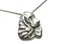 Vintage Silver SPANIEL Dogs Head Pendant 18 Inch Chain GIFT BOXED