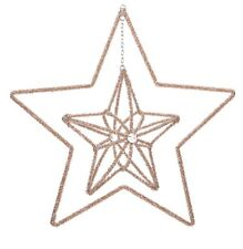 Large Rose gold 3D star hanging decoration.38cm  Glass Bead star. Christmas