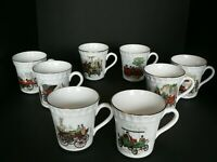 CROWN STAFFORDSHIRE VINTAGE AUTOMOBILE MUG SET OF 8