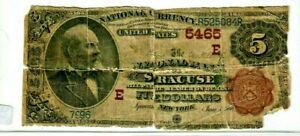 "$5 (SYRACUSE)  ""1882"" (NATIONAL CURRENCY) $5 (SYRACUSE) ""1882"" BROWNBACK ROUGH!!"