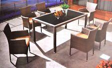 Set mobili da giardino in polyrattan da giardino mobili da salotto sala da pranzo tavolo + 6 SEDIE