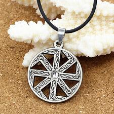 Коловрат Kolovrat Solstice Slavonic Amulet Fire Wheel Pendant Chain Necklace