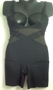 Cacique Illusion Open Bust Thigh Shaper Lane Bryant BLACK Slimming NWOT