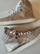 100% authentic Mens Gucci high top sneakers  size 12.5 us 13 silver surfer.