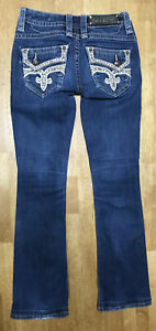 Rock Revival Women's Barby Boot Cut 25 Distressed Bling Denim Blue Jeans 26x29