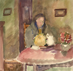 Dorothy Hepworth (1894-1978) - Mid 20th Century Watercolour, At the Table