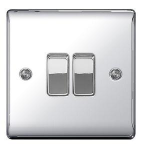 BG Nexus Metal NPC42 - POLISHED CHROME Double Light Switch 2 Gang 2 Way