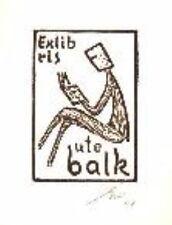 Exlibris original Gipsschnitt  Lesende Nr 41 Franz Grickschat signiert Bookplate