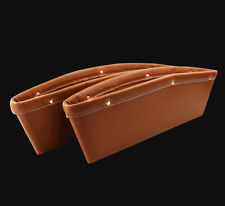 Brown Car PU Leather Seat Gap Slit Pocket Catch Catcher Storage Organizer Handy