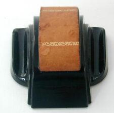 Art Deco Zephyr American Dipodex Black Glass Inkwell Leather Trim