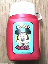 MICKEY MOUSE WALT DISNEY 1980s KID THERMOS FLASK BOTTLE & CUP ~ MADE IN ENGLAND