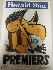 2008 Hawthorn FC - AFL Premiership Weg Poster - signed by Captain Sam Mitchell