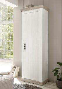 IMV Garderobenschrank Florenz Dielenschrank Dekor in Pinie Weiß Oslo Pinie