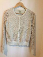 Lucky Brand Live In Love Cream Lace Cardigan Sweater Sz S/P -EUC