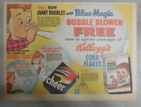 Kellogg's Cereal Ad: Corn Flakes Giant Bubble Blower ! 1955 Size: 11 x 15 inches