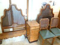 Antique Art Deco Burr Walnut  Bedroom Suite Bed Wardrobe