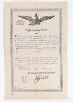 Antike Aufnahmeurkunde Preussen Staatsangehörigkeit Schleswig 1913 Plagwitz