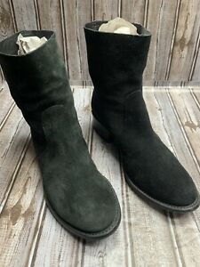 Tory Burch Women's Black Suede Siena Ankle Boots Logo Pull On Low Heel Size 10