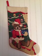 Needlepoint Santa Bear  Christmas Holiday Stocking
