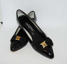 Vintage Women's Evan Picone Black Patent Leather Shoes with Bow / Made in Spain