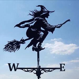 Schwarz Eisen Wetterfahne Wetterhahn Hexe Windspiel Windrichtung für Garten Deko