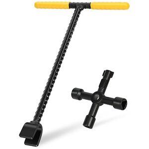 Water Meter Key Tool - 12 Inch - Contractor Grade Steel T-Handle Valve Wrench