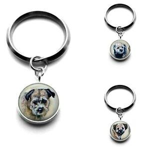 Silver Plated Border Terrier Dog Art Keyrings 3 Designs