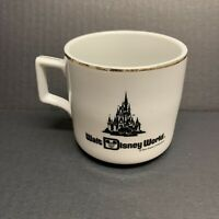 Vintage Style Walt Disney World WDW Ceramic Coffee Tea Mug Cup White Gold Rim