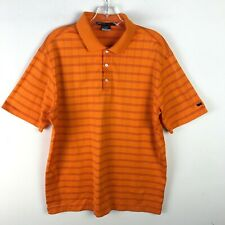 Nike Tiger Woods Dri-Fit Golf Striped Polo Shirt Orange Mens Medium M