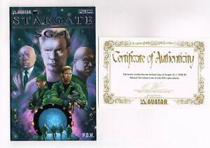 STARGATE SG-1 P.O.W. #2 AVATAR COMICS 2004 NM PLATINUM FOIL COA TV SERIES