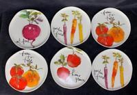 "Set of 6 Tag Garden Vegetable Tidbit 7 3/8"" Salad Plates NEW"
