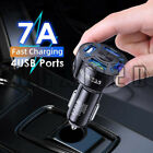 4 USB Port Fast Car Charger Adapter LED Display QC 3.0 For Iphone Samsung LG HTC