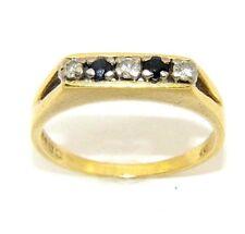 Mujer 18Ct Oro Vestido Juego de Anillos con Zafiros y Diamantes Talla UK k 1/2