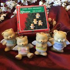 Vintage Christmas Around The World Set of 4 Angel Teddy Bear Ornament TAIWAN
