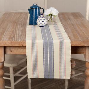 "VHC Brands Farmhouse 72""x13"" Table Runner Blue Cadence Kitchen Table Decor"