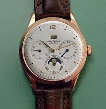 Vintage 40's Universal Geneve 18k Gold Moonphase Triple Date Antique Watch