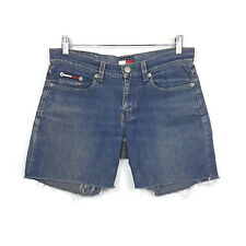 Tommy Jeans Womens Shorts Size 3 Blue Distressed Cut Off Denim