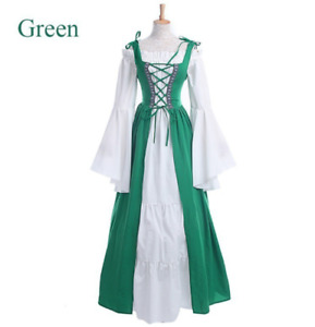 Medieval Renaissance Women Lace up Dress Victorian Long Dress Cosplay Costume US