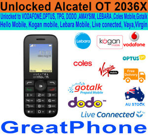 Alcatel OT 20.36X 3G Phone White Unlocked to Voda*Optus*TPG*AMAYSIM*Lebara