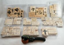 Stampin Up Lot 70+ New & Lightly Used Stamp Sets (9) w Stamp Wheel Holiday