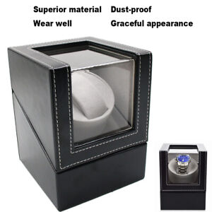 Automatic Rotation PU Watch Winder Storage Display Case Box With Power Plug USA