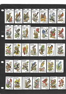 Birds - Set of 50 - States & Flowers - USA - Mint (No gum)
