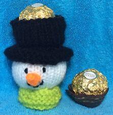 Knitting Pattern-Christmas Snowman Head Chocolate COVER FITS Ferrero Rocher