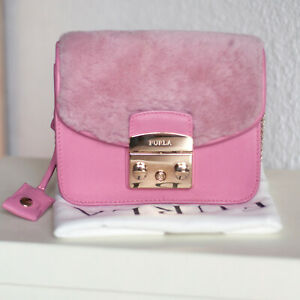 FURLA Authentic Metropolis bag Pink leather shearling fur flap original dustbag