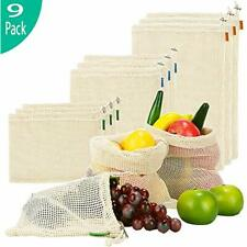 Reusable Produce Bags, Organic Cotton Mesh With Tare Weight Tags, Zero Waste Set