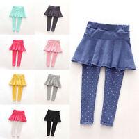 1-7Y Baby Toddler Girls Warm Pantskirt Pants Culottes Leggings Tutu Skirt Pants