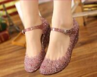 Women Hollow Out Crystal Sandals Jelly Ankle Strap Wedge Heel Pumps New Shoes
